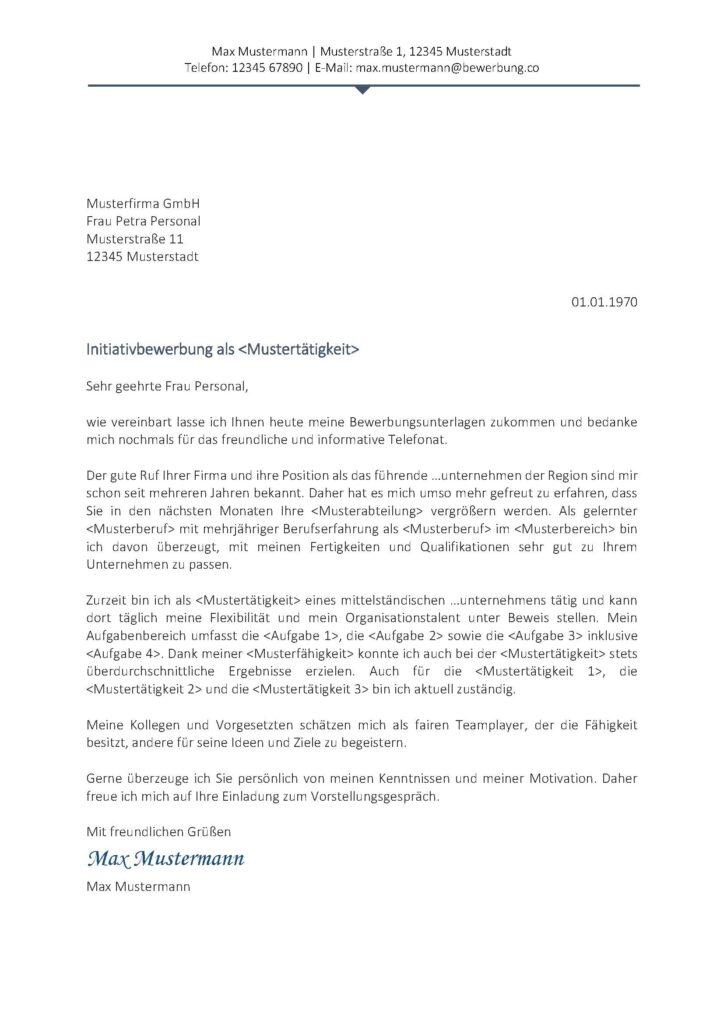 Vorlage / Muster: Anschreiben 2017 (Initiativbewerbung)