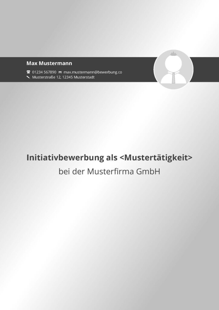 Vorlage / Muster: Bewerbungsdeckblatt 2016 (Initiativbewerbung)