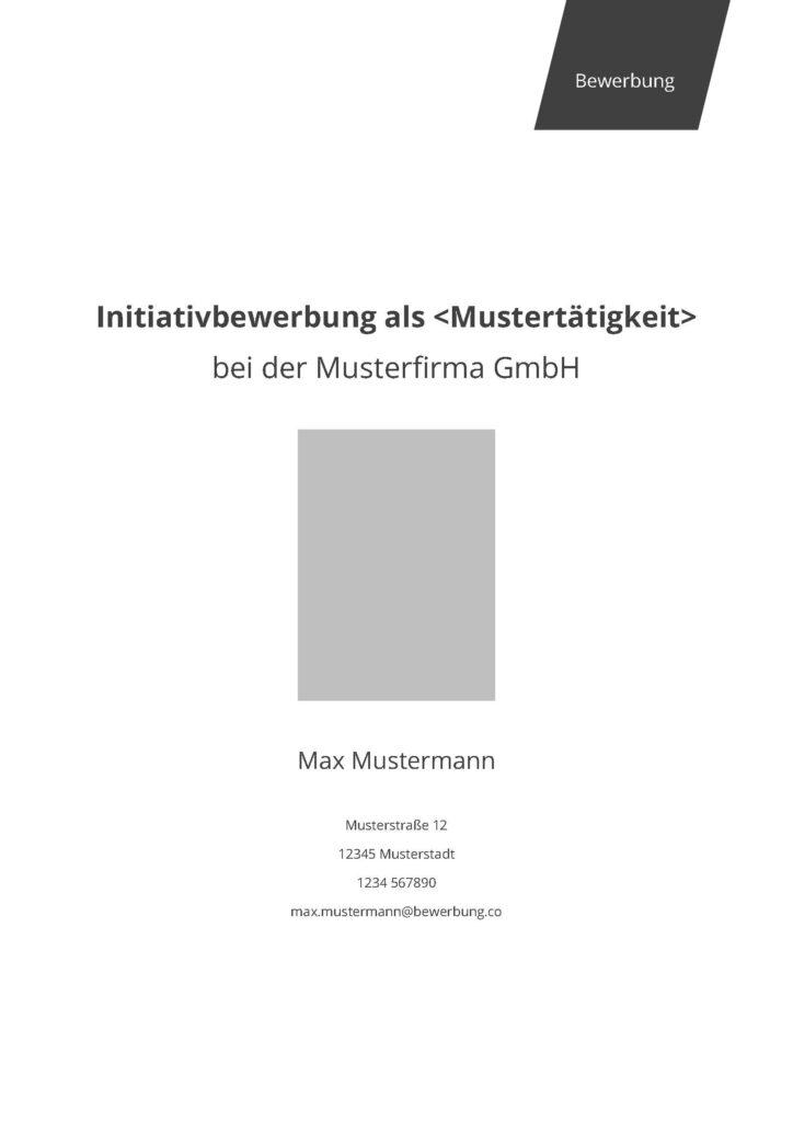 Vorlage / Muster: Deckblatt professionell (Initiativbewerbung)