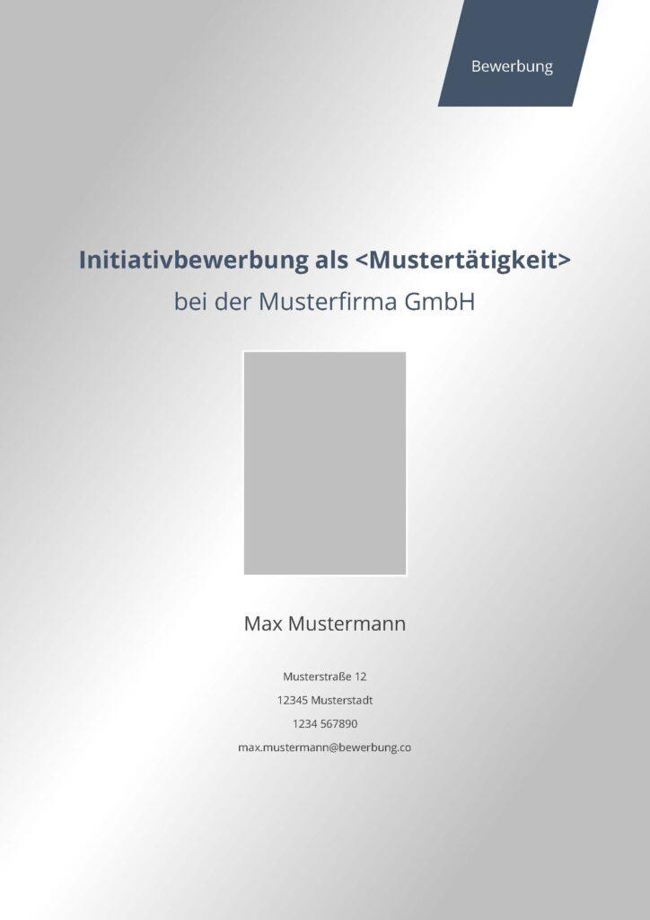 Vorlage / Muster: Deckblatt modern (Initiativbewerbung)