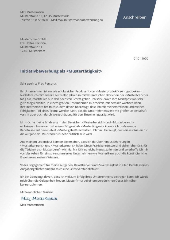 Vorlage / Muster: Anschreiben modern (Initiativbewerbung)