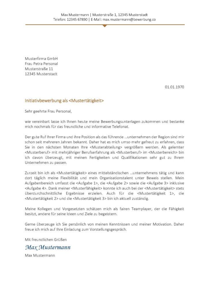 Vorlage / Muster: Anschreiben Muster 2017 (Initiativbewerbung)