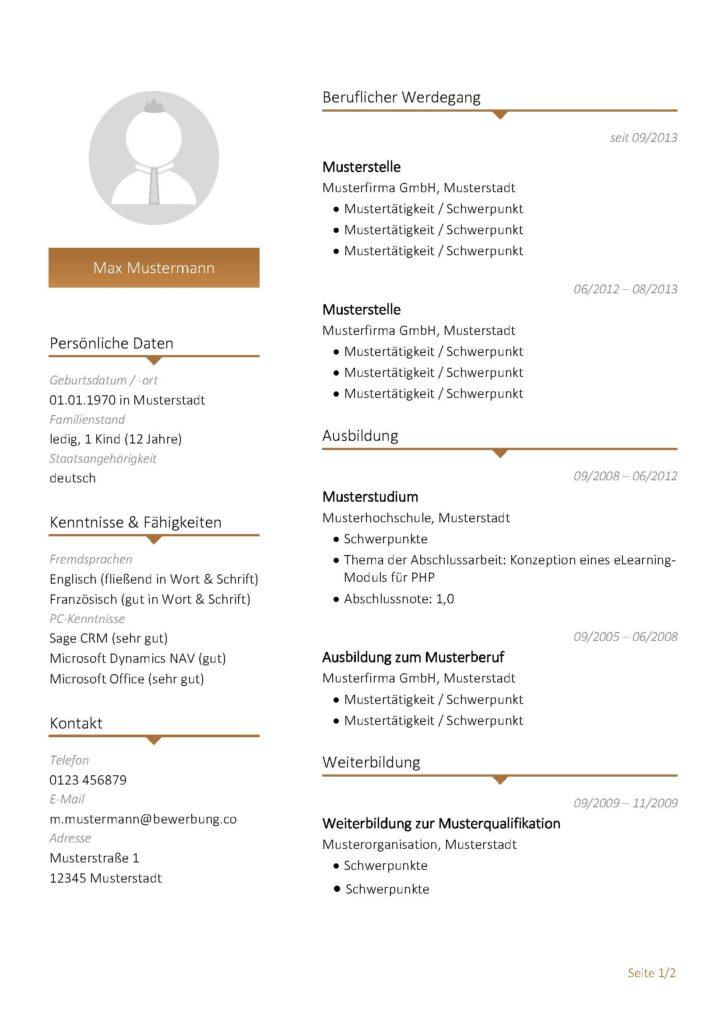 Vorlage / Muster: Lebenslauf-Vorlage 2017